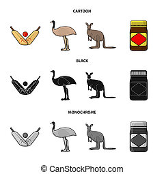 A game of cricket, an emu ostrich, a kangaroo, a popular food.Australia set collection icons in cartoon,black,monochrome style bitmap symbol stock illustration web.