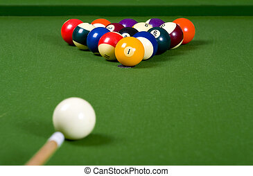 A game of Pool or billiards