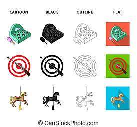 A game with a bat, a target with a gun, a horse on a carousel, a swan attraction. Amusement park set collection icons in cartoon, black, outline, flat style bitmap symbol stock illustration web.
