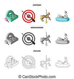 A game with a bat, a target with a gun, a horse on a carousel, a swan attraction. Amusement park set collection icons in cartoon, outline, monochrome style bitmap symbol stock illustration web.