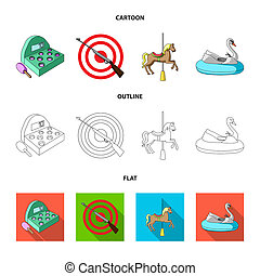 A game with a bat, a target with a gun, a horse on a carousel, a swan attraction. Amusement park set collection icons in cartoon, outline, flat style bitmap symbol stock illustration web.