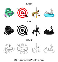 A game with a bat, a target with a gun, a horse on a carousel, a swan attraction. Amusement park set collection icons in cartoon, black, outline style bitmap symbol stock illustration web.
