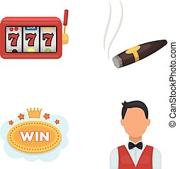 A gaming machine a one-armed bandit, a cigar with smoke, a five-star hotel sign, a dilettante in a vest. Casinos and gambling set collection icons in cartoon style vector symbol stock illustration web.