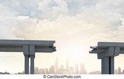 A gap in the bridge - A gap in the concrete bridge ad a...
