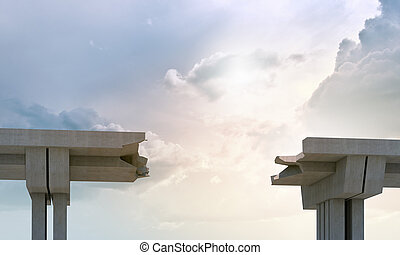 A gap in the concrete bridge ad a symbol of risk and danger