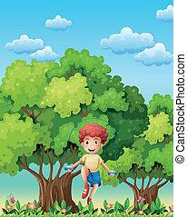 a, garçon, jouer, à, les, corde à sauter, près, les, arbres
