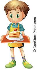a, garçon, tenue, a, plateau, à, a, tranche gâteau, dans, a,...