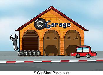 A garage - Illustration of a garage near a street