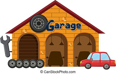 A garage on white background