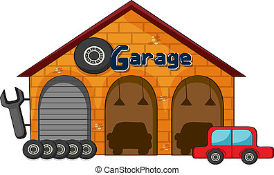 illustration of a garage shop on a white background