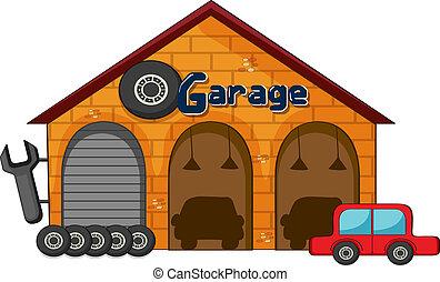 A garage shop - illustration of a garage shop on a white ...