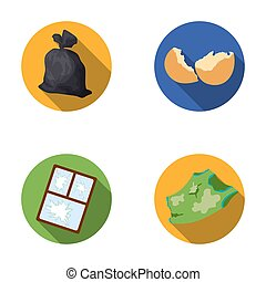 A garbage bag, a broken egg shell, a torn dirty T-shirt, a broken window frame with glass. Garbage and trash set collection icons in flat style raster, bitmap symbol stock illustration web.