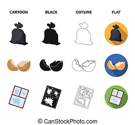 A garbage bag, a broken egg shell, a torn dirty T-shirt, a broken window frame with glass. Garbage and trash set collection icons in cartoon, black, outline, flat style bitmap symbol stock illustration web.