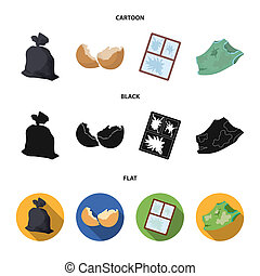 A garbage bag, a broken egg shell, a torn dirty T-shirt, a broken window frame with glass. Garbage and trash set collection icons in cartoon, black, flat style bitmap symbol stock illustration web.