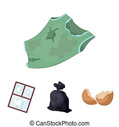 A garbage bag, a broken egg shell, a torn dirty T-shirt, a broken window frame with glass.Garbage and trash set collection icons in cartoon style vector symbol stock illustration web.