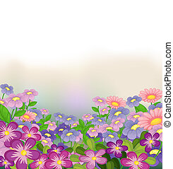 A garden of colorful flowers - Illustration of a garden of...