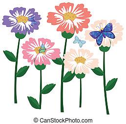 A garden of flowers with butterflies
