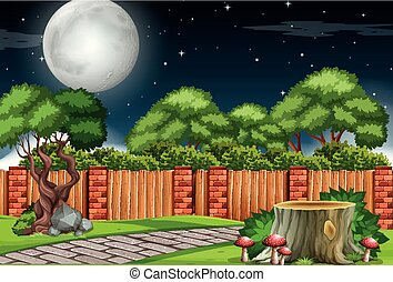 A garden scene at night