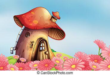A garden with a mushroom house