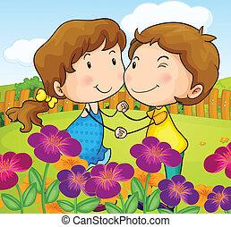 A garden with a sweet couple