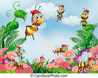 A garden with bees - Illustration of a garden with bees