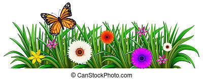 A garden with blooming flowers and a butterfly
