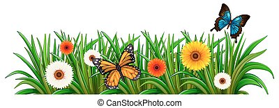 A garden with blooming flowers and butterflies