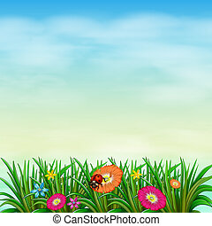A garden with colourful flowers - Illustration of a garden...