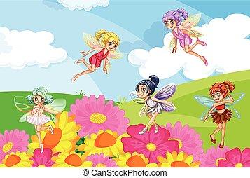 A garden with fairies