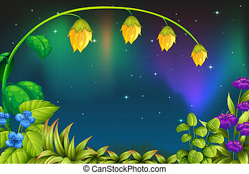 A garden with green plants and fresh flowers - Illustration...