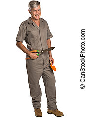 A gardener with tools, isolated on white Background.