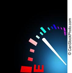 gas gauge - A gas gauge shows petrol level on a black...