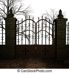 A fantasy gate surrounded by trees on a white background