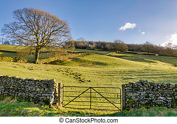 A gate in a dry stone wall
