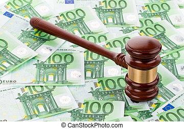 gavel and euro banknotes - a gavel and euro banknotes. legal...