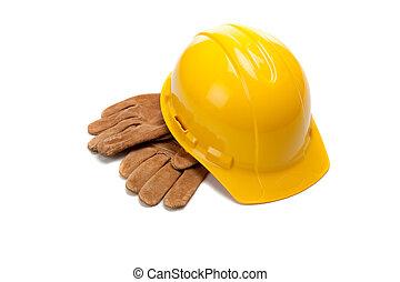 a, gelber harter hut, und, leder, bedienen handschuhe, weiß