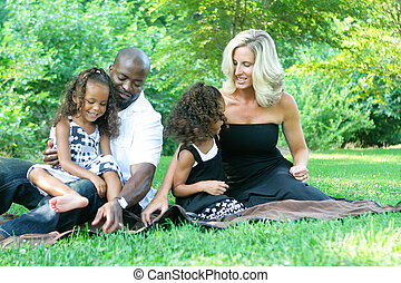 a, gemischten rennen, familie