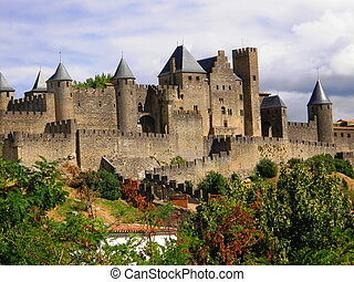 medieval city of Carcassonne - a general view of the castle ...