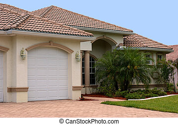 florida home - a generic one story florida home with garage,...