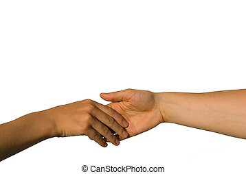 a gently handshake between two young hands
