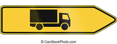 A German regulatory sign - Lorry route.