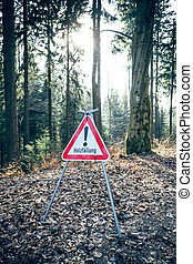 German road sign in the forest
