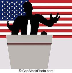 a, geschäftsmann, politiker, reden, menschenmenge.