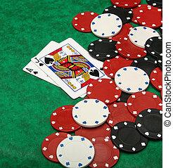 a, gewinnen, keule, hand, mit, spielen chips