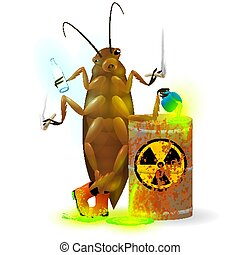 A giant cockroach drinks a radioactive cola and chemical waste from a rusty barrel. Toxic green fluorescent liquid in a keg. Environmental pollution danger of ecological disaster. Vector illustration.