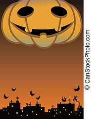 a giant halloween pumpkin head