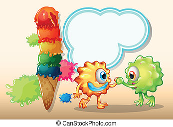 A giant icecream near the two monsters with an empty callout
