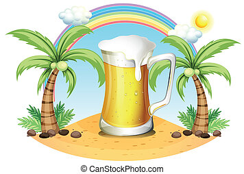 A giant mug of beer near the coconut trees - Illustration of...