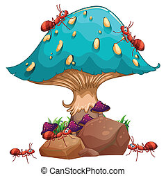 Illustration of a giant mushroom and a colony of ants on a white background