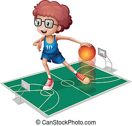Illustration of a giant player in a small court on a white background